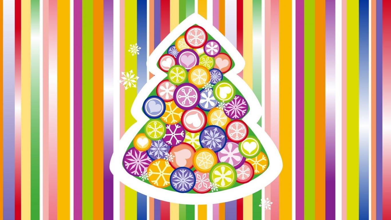 Arbol de navidad multicolor - 1366x768