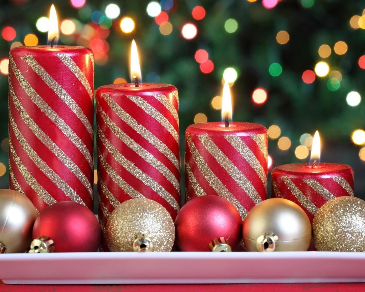 Arreglo de velas x navidad - 1280x1024