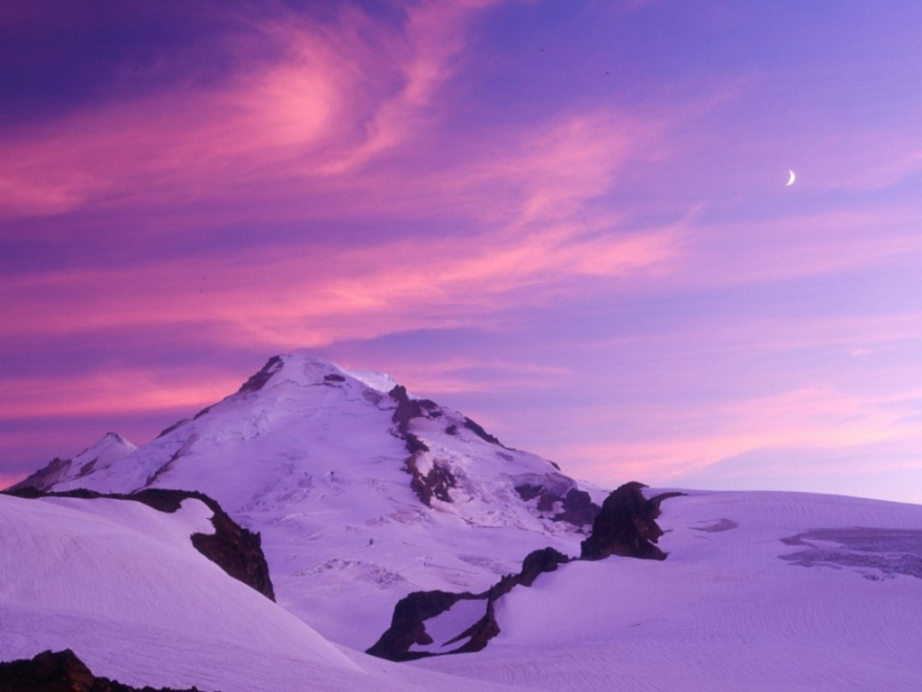 Montaña Nevada 1024x768: Atardecer Morado En La Nieve Hd 1024x768