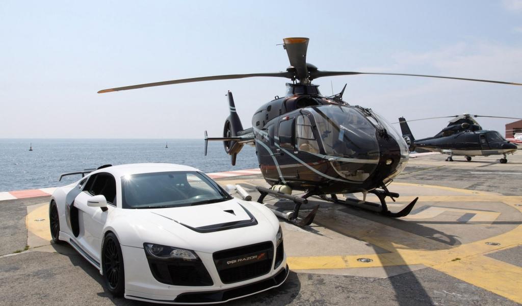 Audi R8 y un helicóptero - 1024x600