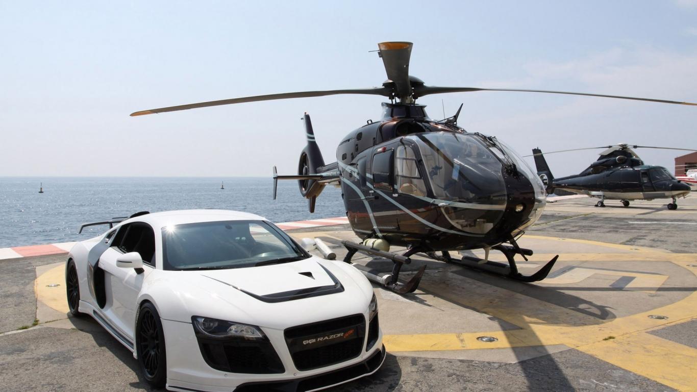Audi R8 y un helicóptero - 1366x768