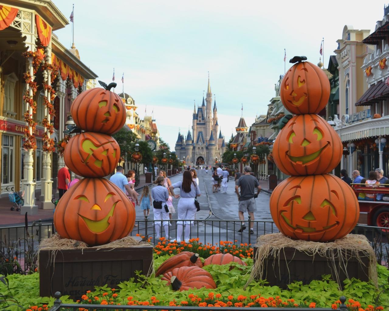 Calles decoradas por halloween - 1280x1024
