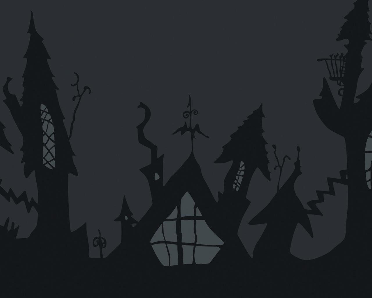 Castillo de noche de brujas - 1280x1024