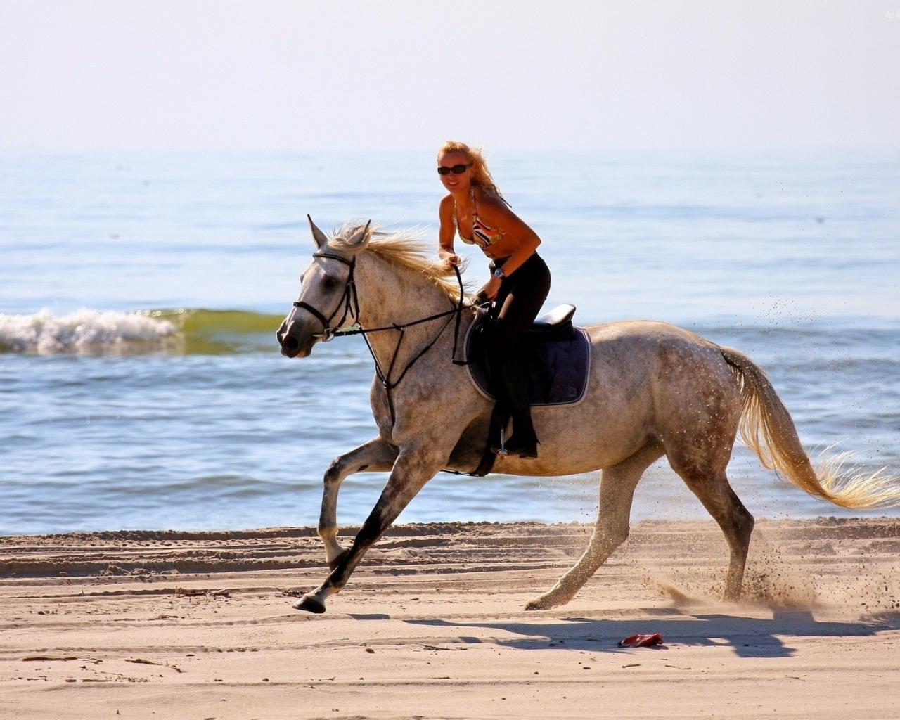 Chica paseando a caballo - 1280x1024