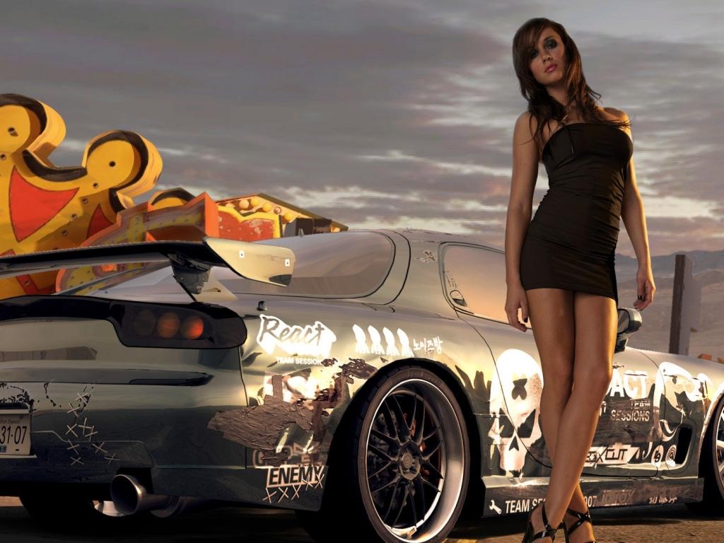 Chicas y autos - 1024x768
