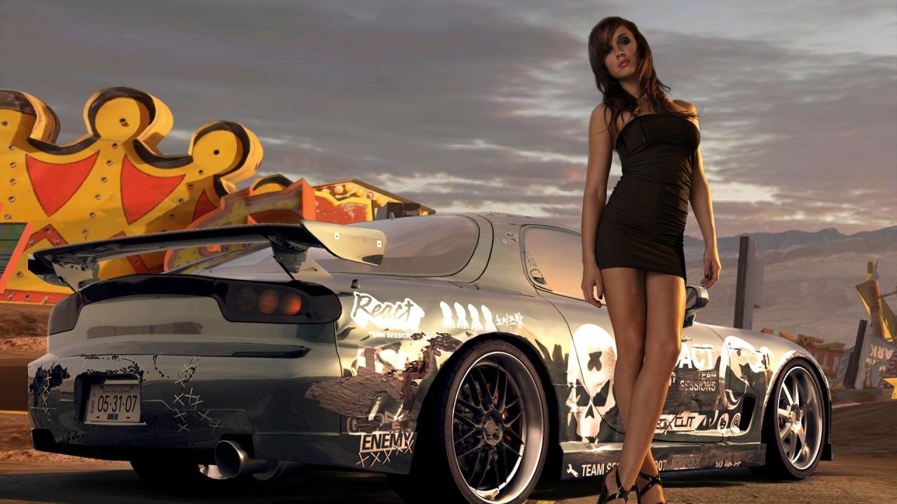 Chicas y autos - 1280x720