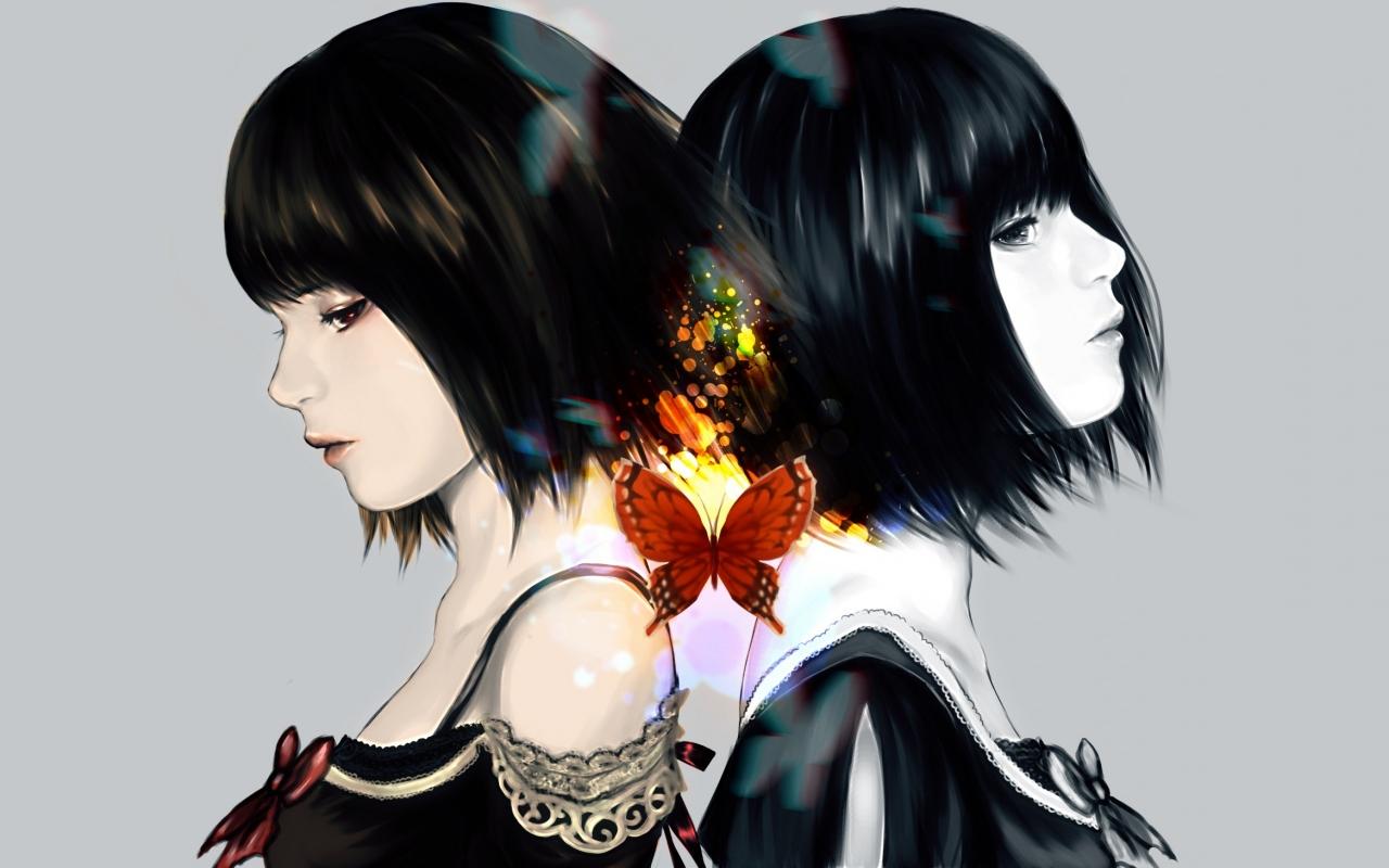 Dibujo de chicas de anime - 1280x800
