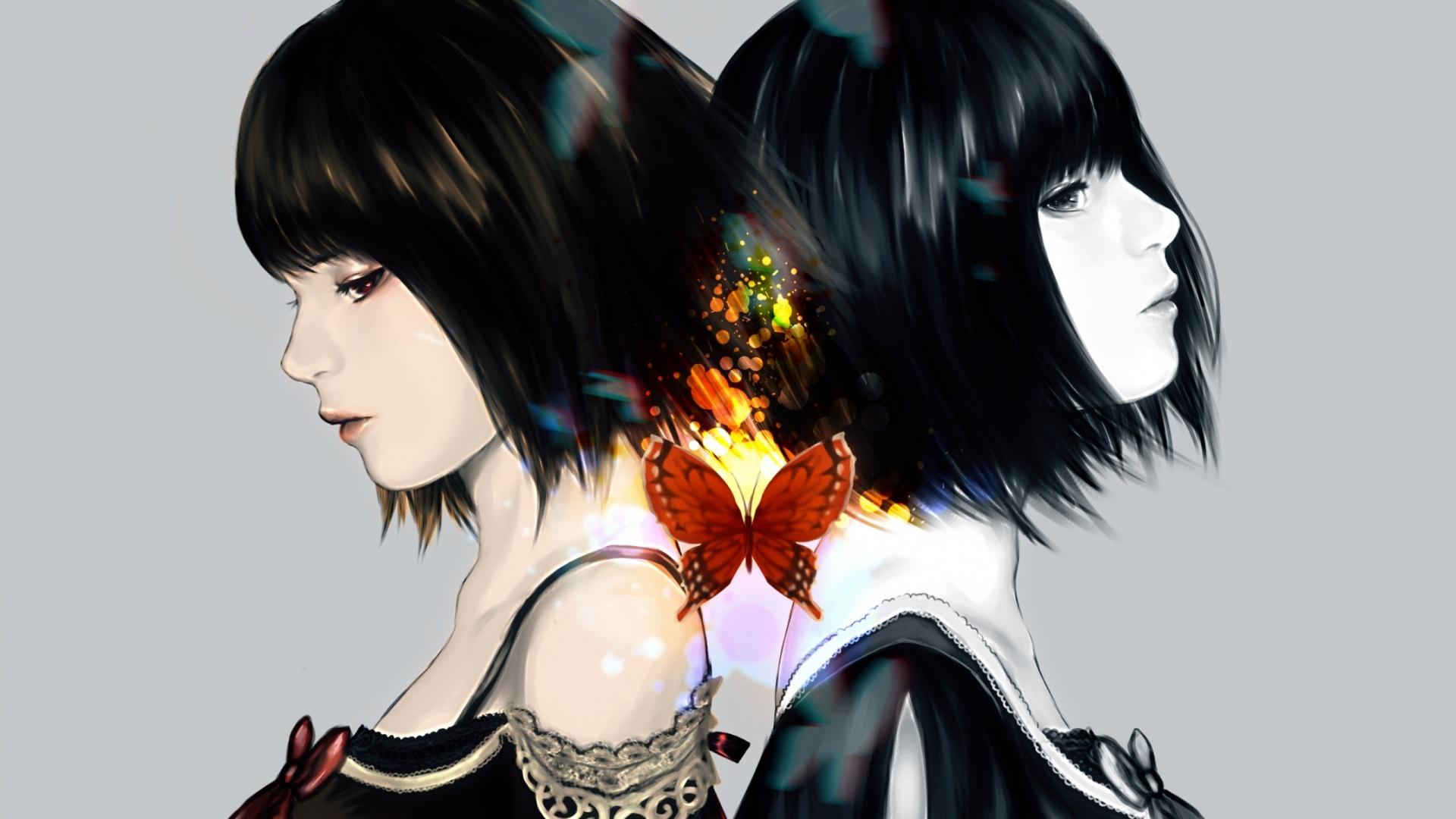 Dibujo de chicas de anime - 1920x1080