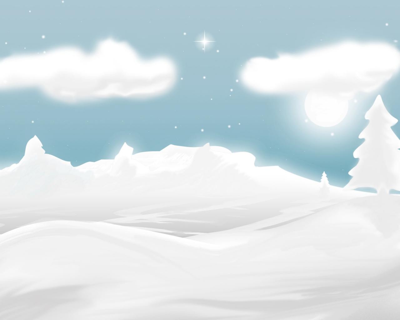 Dibujo de nieve y navidad - 1280x1024