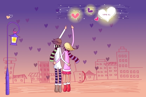 Dibujo de pareja de enamorados - 480x320