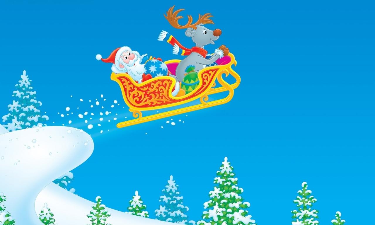 Dibujo de Santa Claus en trineo - 1280x768
