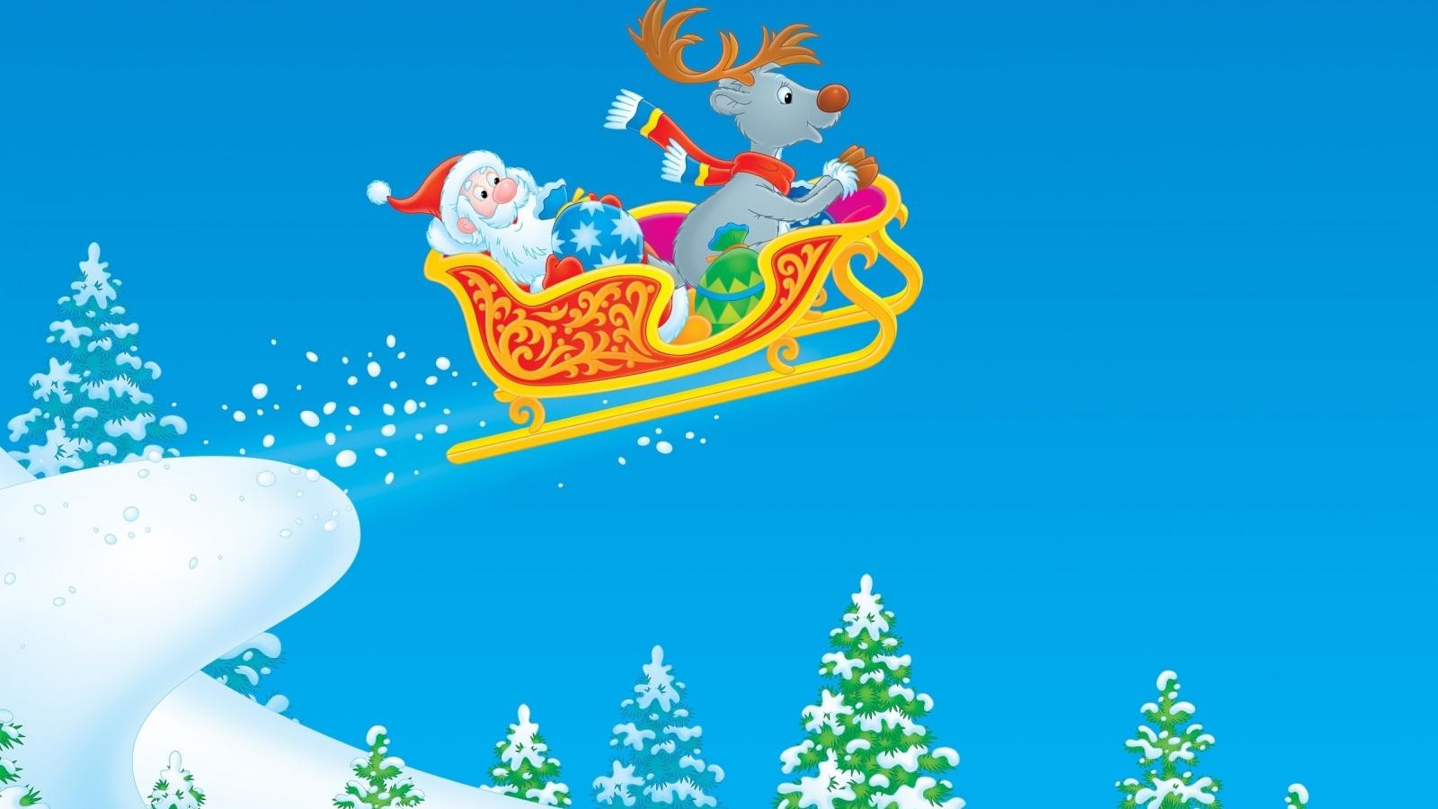 Dibujo de Santa Claus en trineo - 1600x900