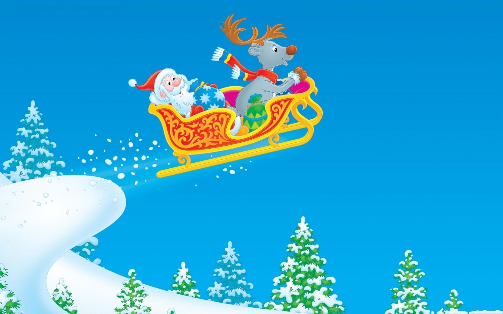 Dibujo de Santa Claus en trineo - 1680x1050