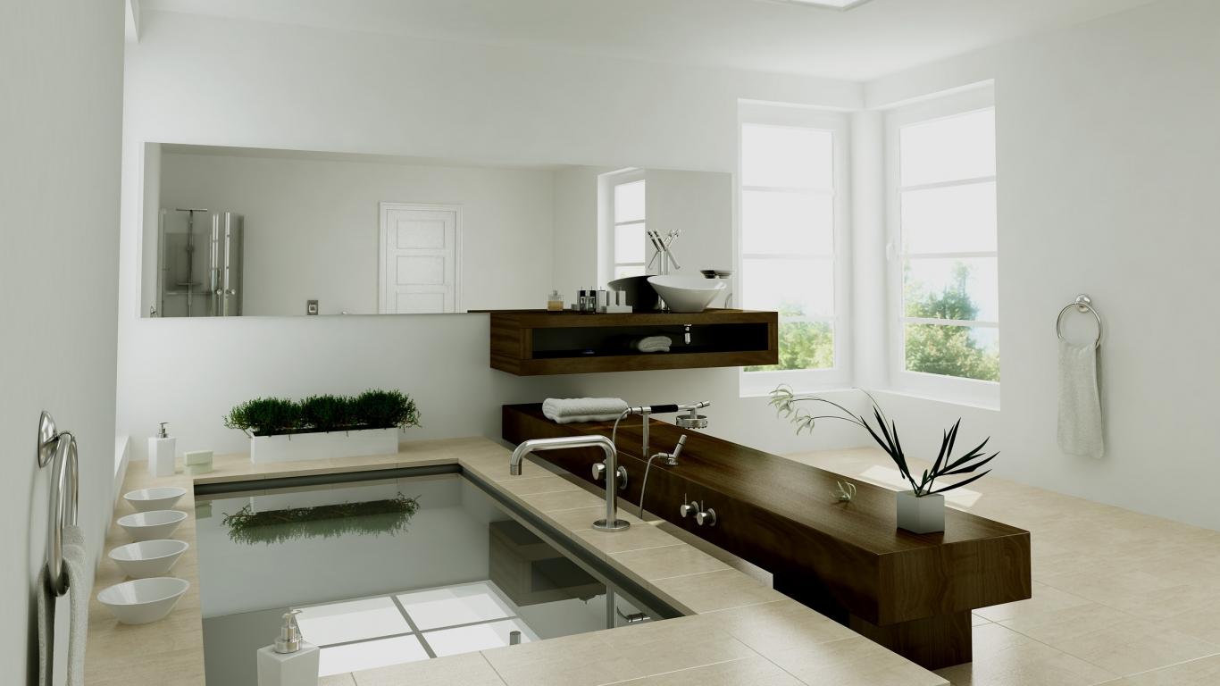 Diseño interior de un baño - 1366x768