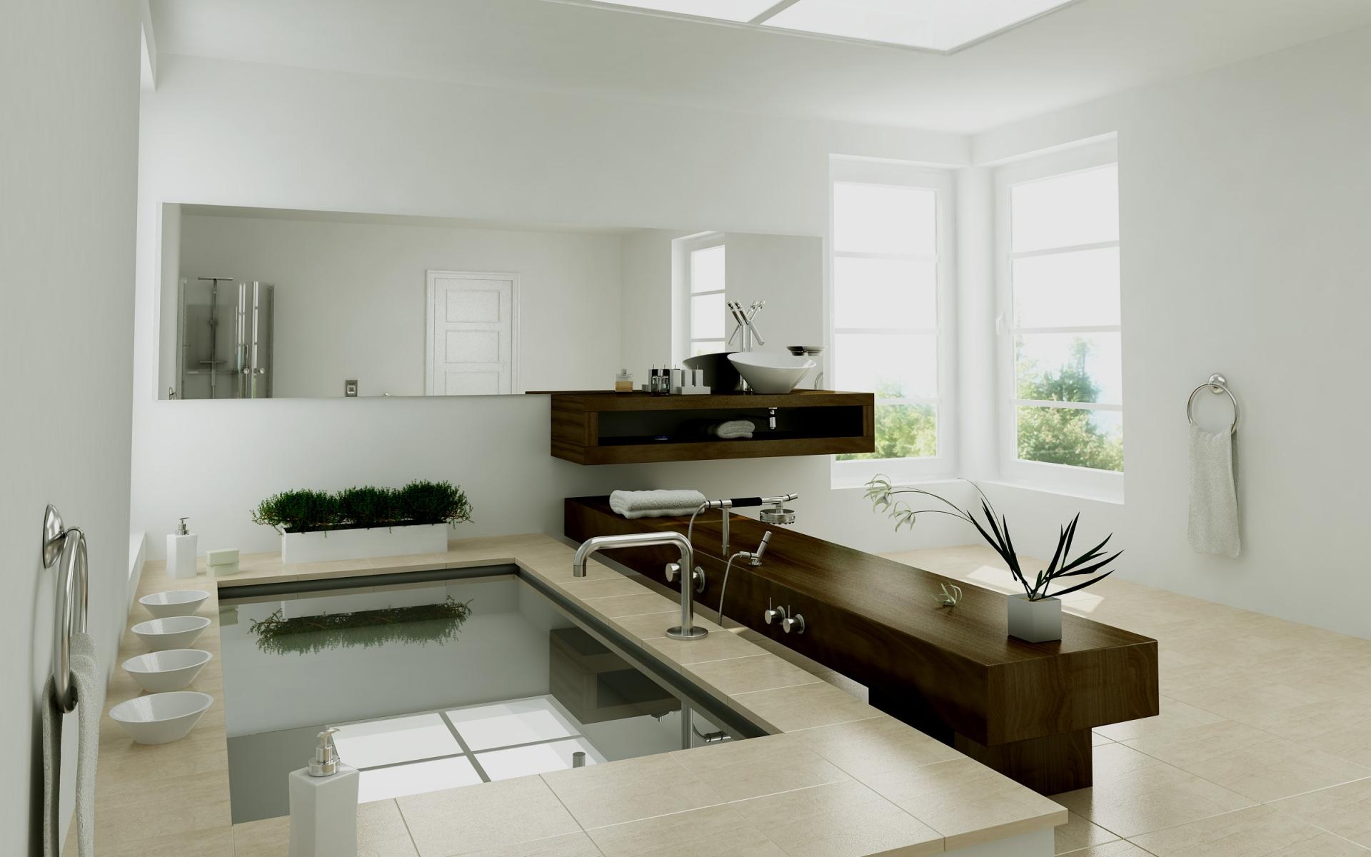Diseño interior de un baño - 1920x1200