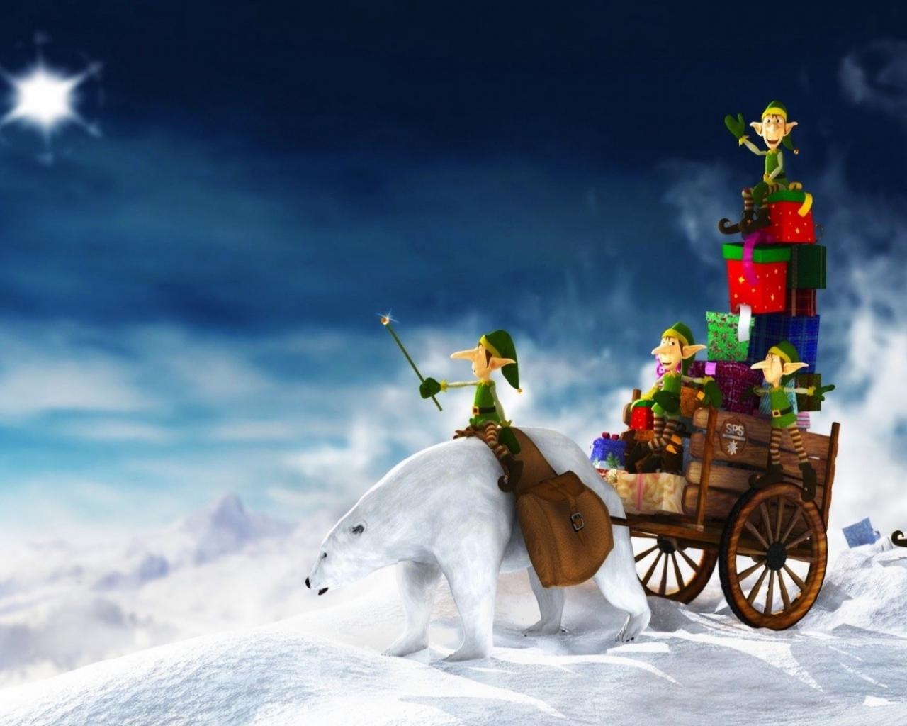 Duendes en navidad - 1280x1024
