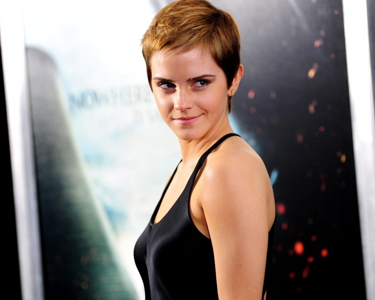Emma Watson con cabello corto - 1280x1024