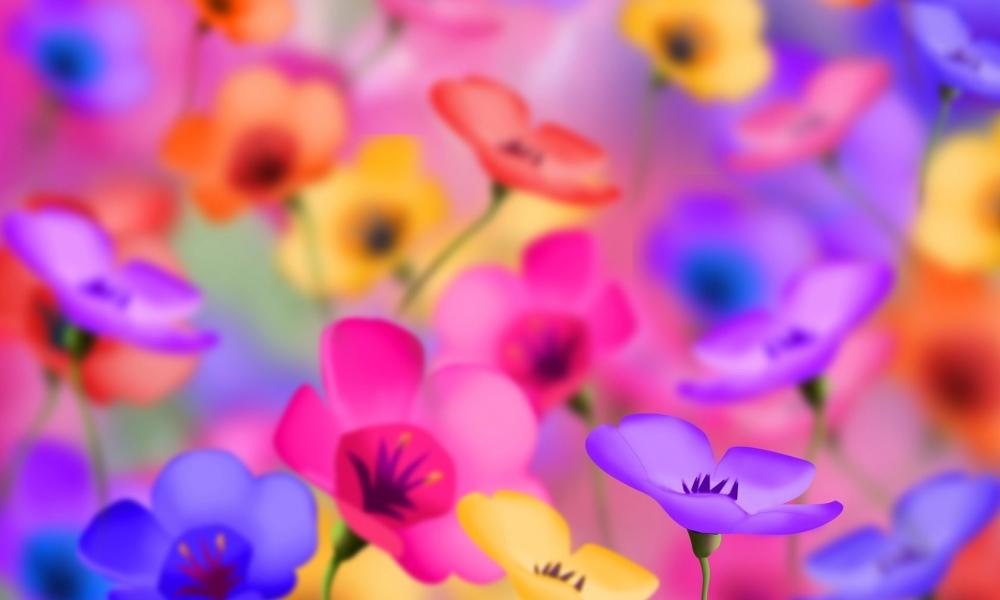 Flores artificiales de colores - 1000x600