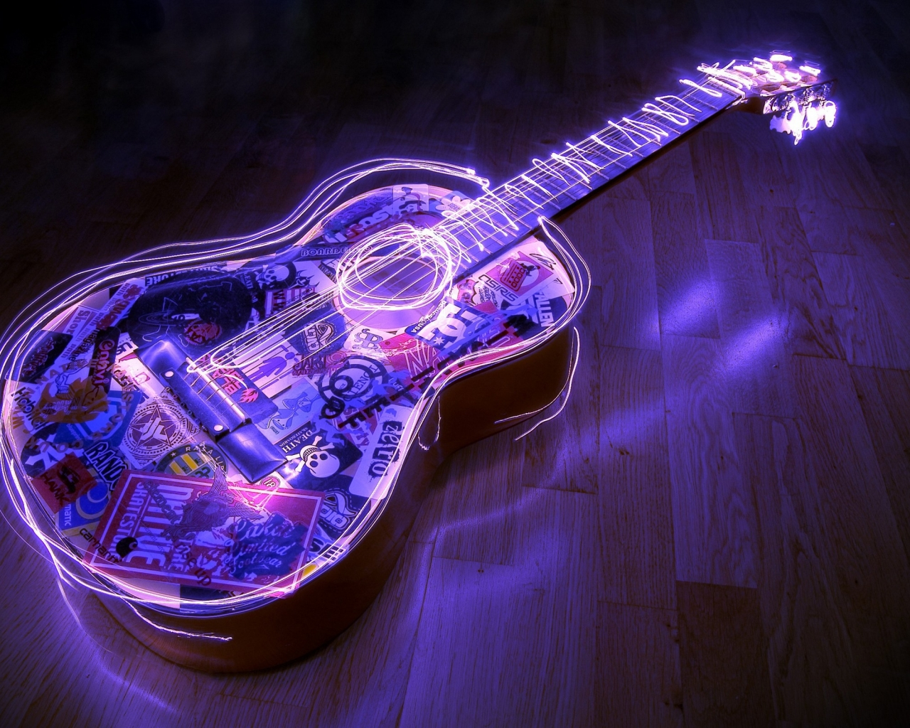 Guitarra con bordes neon - 1280x1024