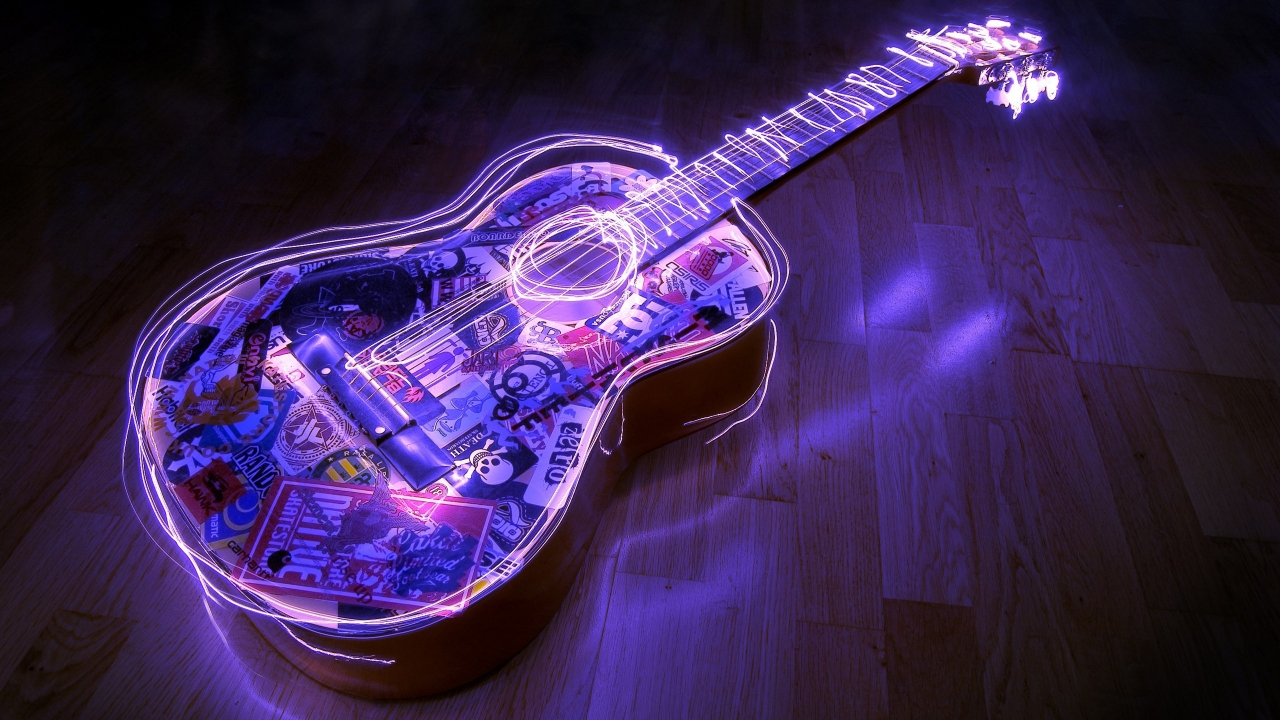 Guitarra con bordes neon - 1280x720