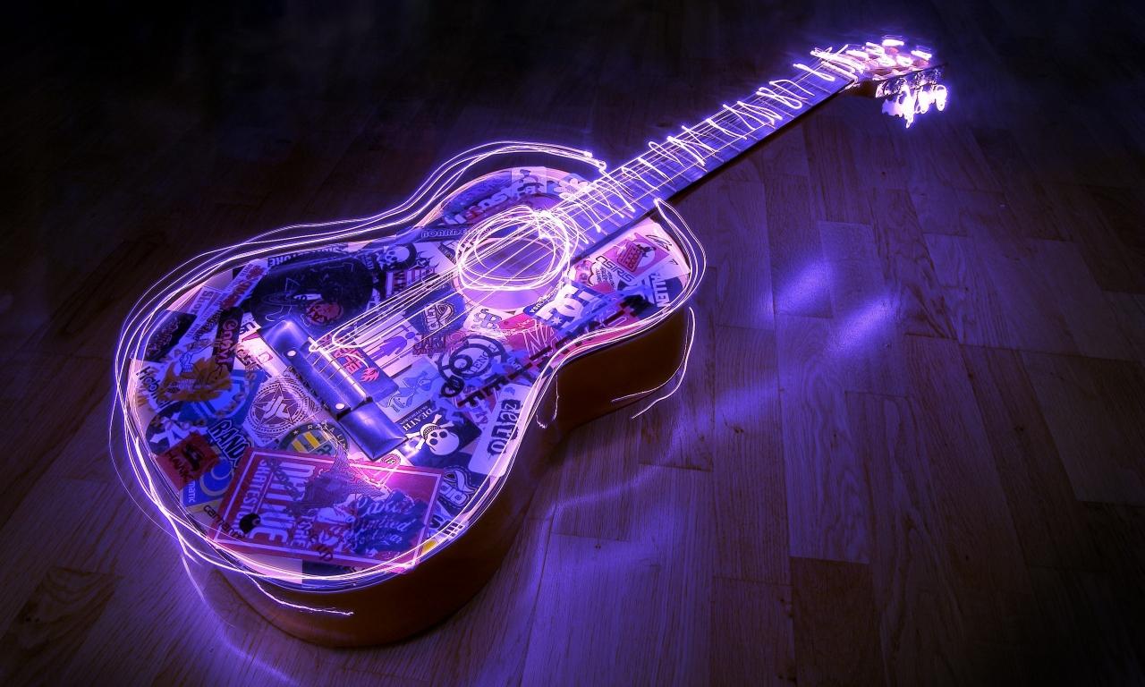 Guitarra con bordes neon - 1280x768