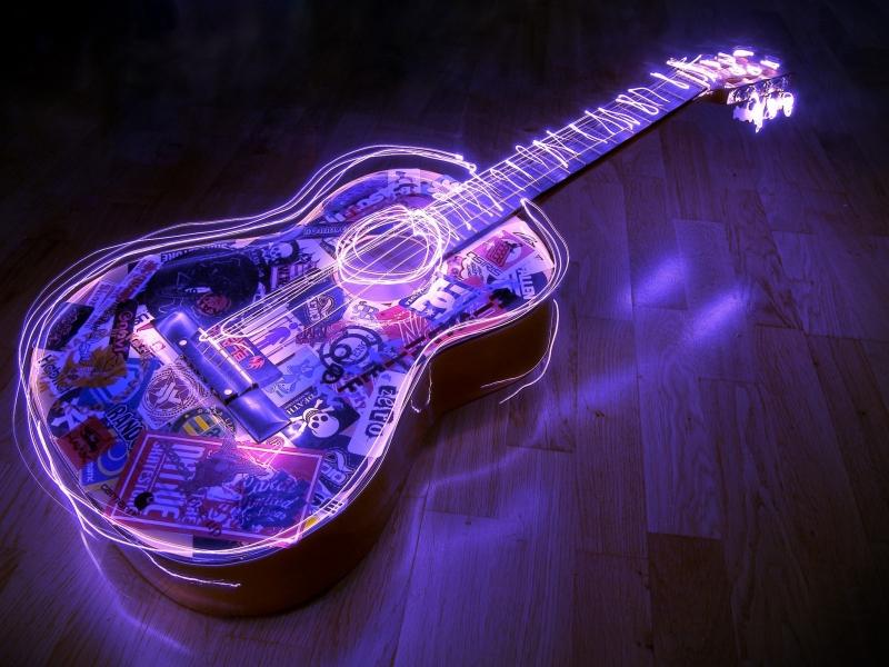 Guitarra con bordes neon - 800x600