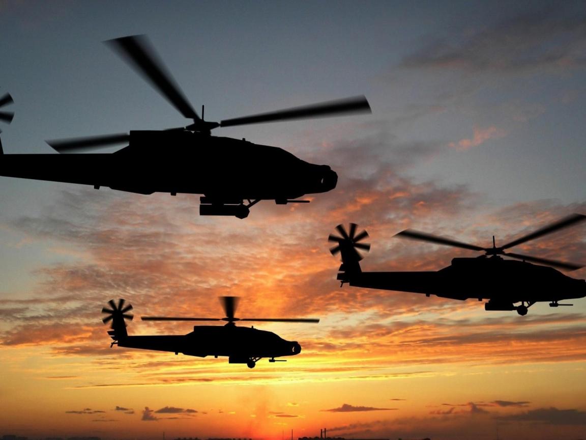 Helicópteros al atardecer - 1152x864
