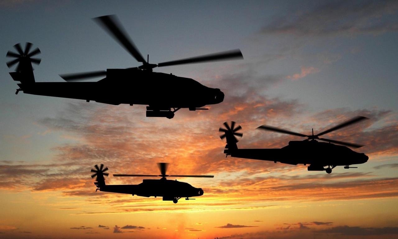 Helicópteros al atardecer - 1280x768