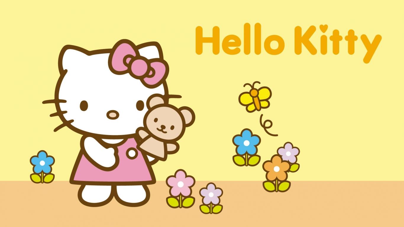 Hello Kitty amarillo - 1366x768