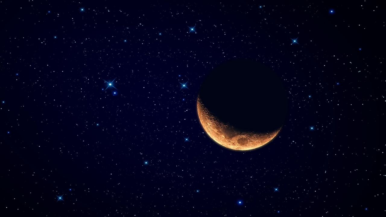 Luna y el cielo estrellado - 1280x720