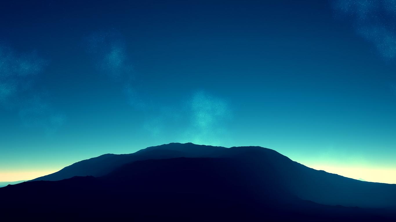Montañas en el horizonte - 1366x768