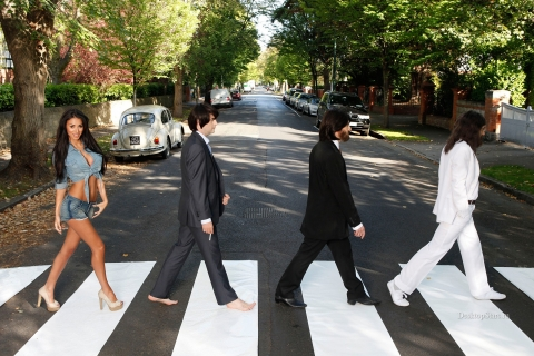 Parodia de Los Beatles en la pista - 480x320