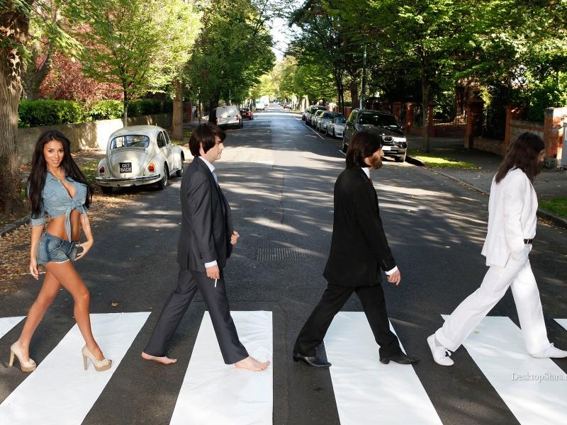Parodia de Los Beatles en la pista - 800x600