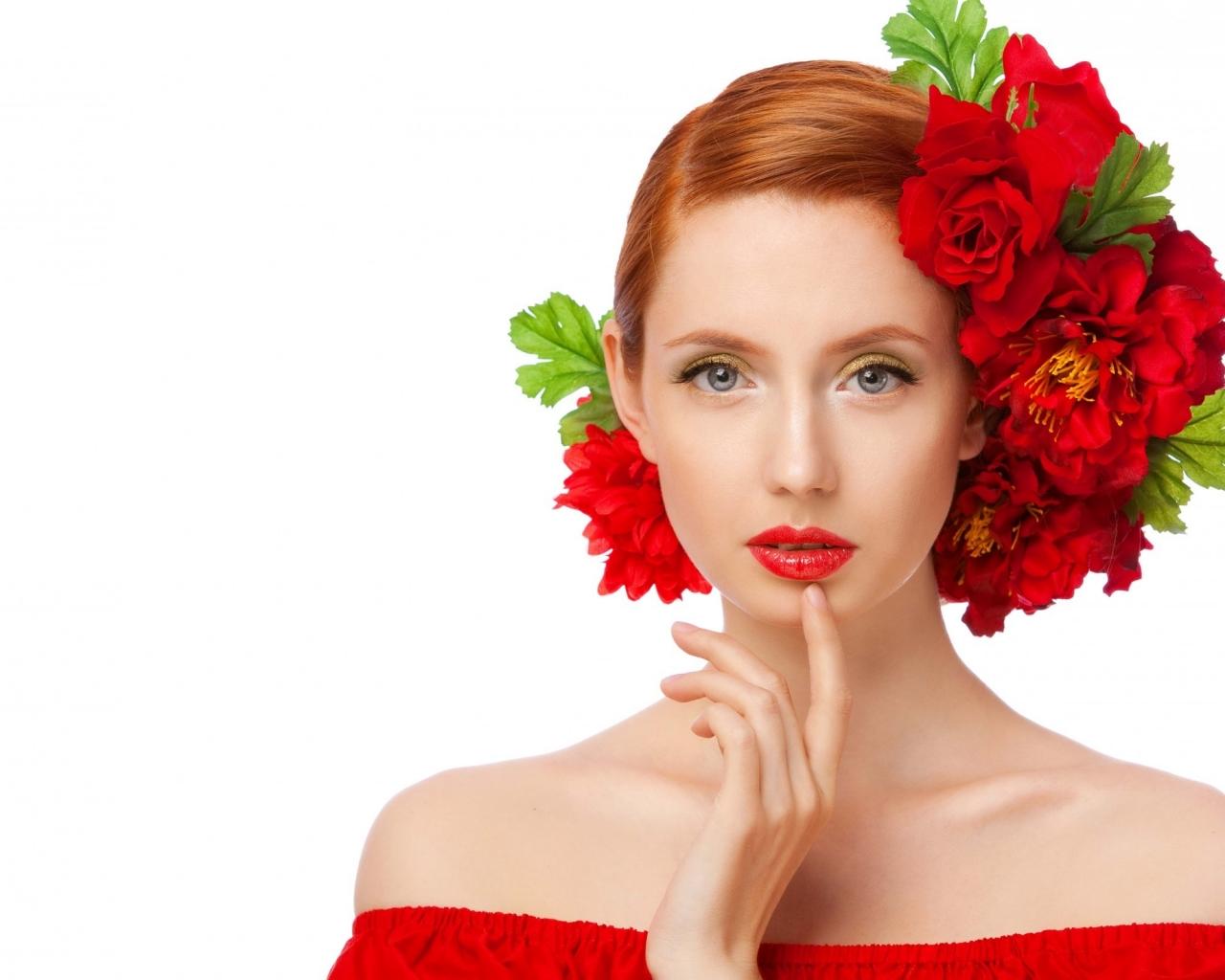 Peinado con rosas rojas - 1280x1024