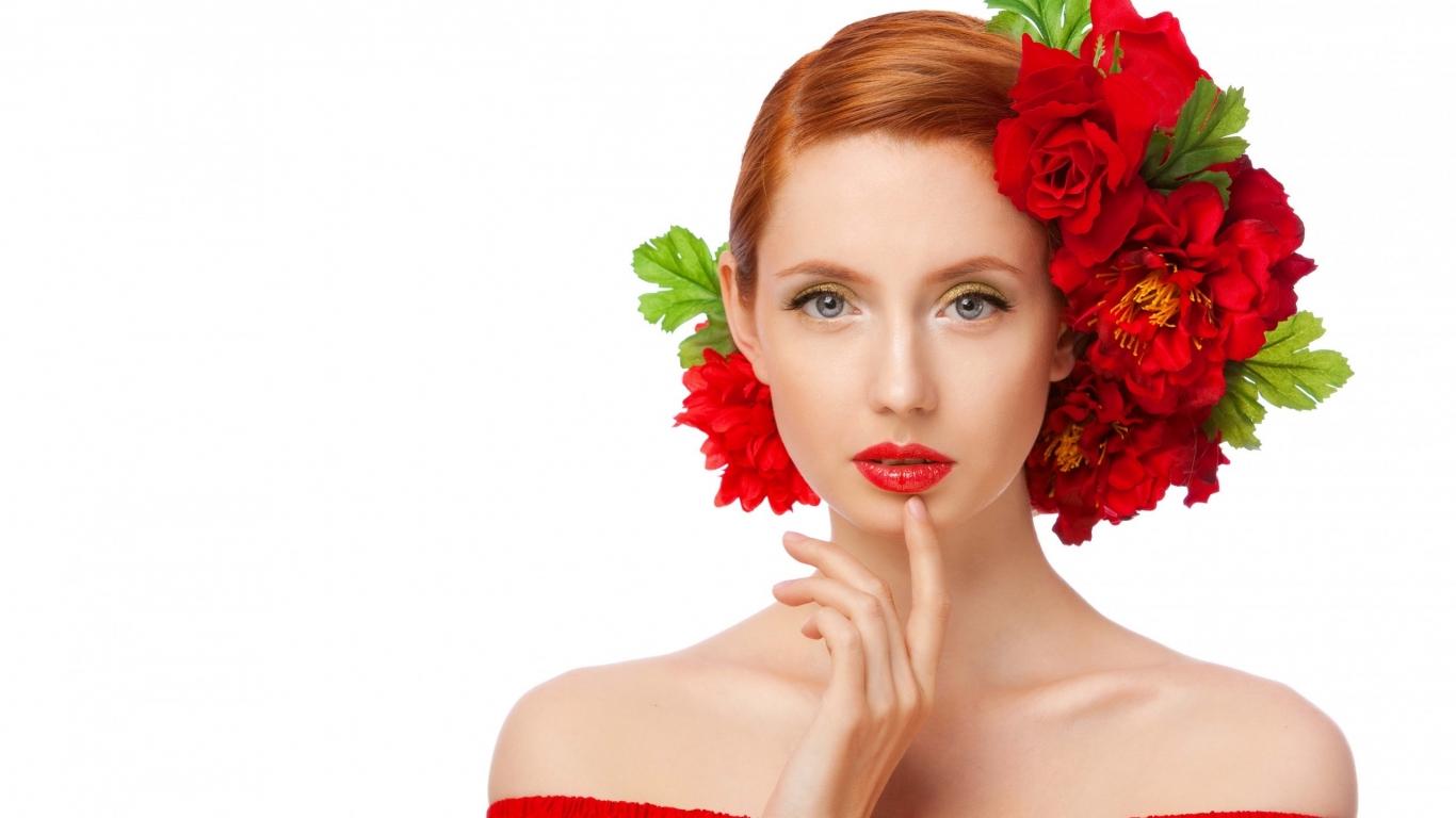 Peinado con rosas rojas - 1366x768