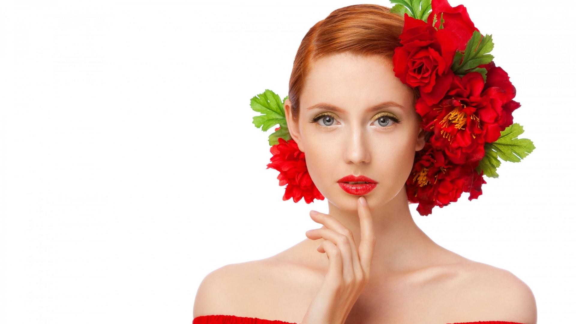 Peinado con rosas rojas - 1920x1080