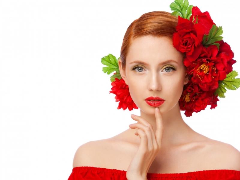 Peinado con rosas rojas - 800x600