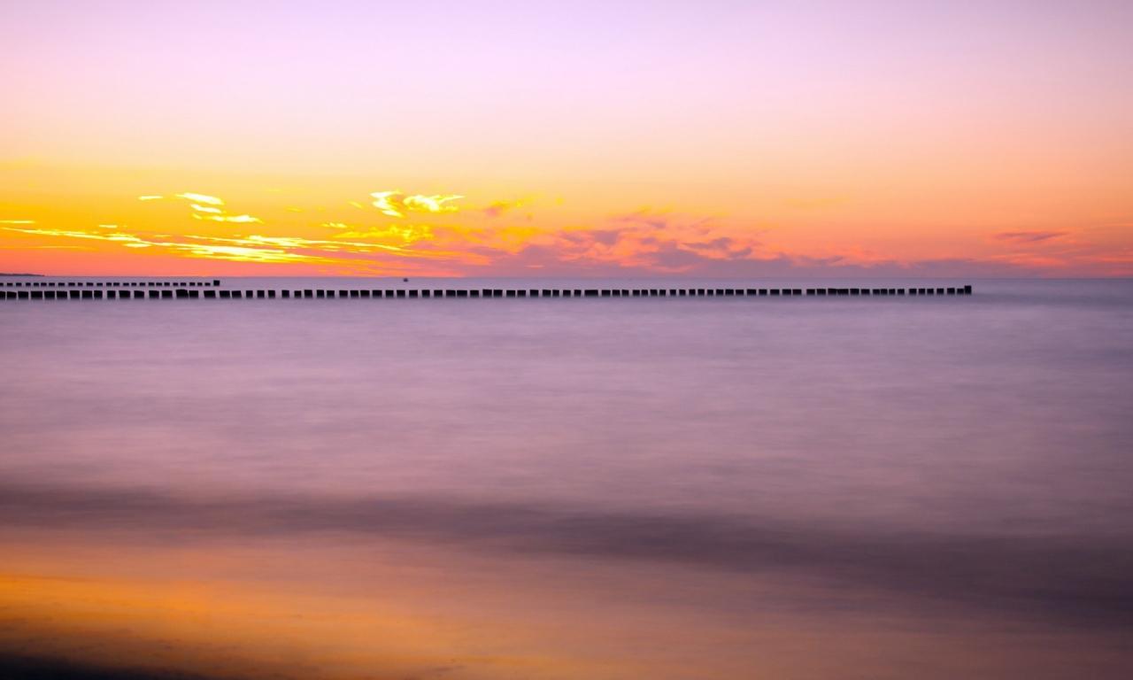 Puesta de sol en el mar - 1280x768