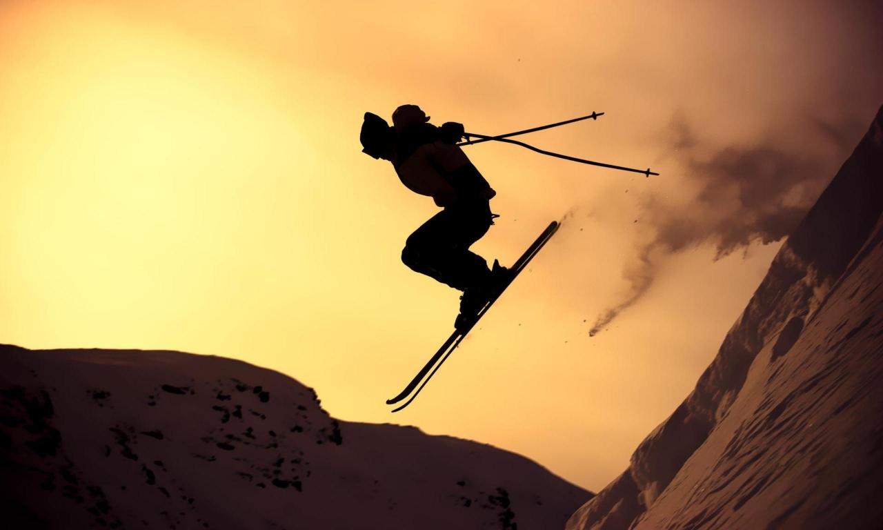 Skii al atardecer - 1280x768