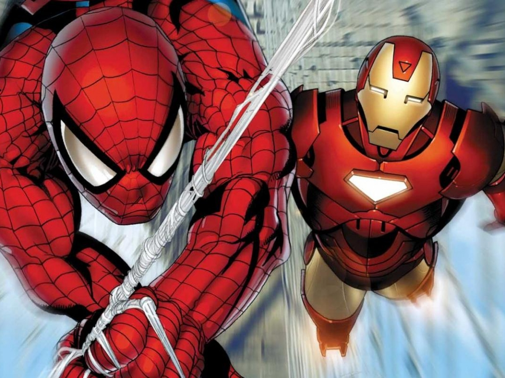 Spiderman y Ironman - 1024x768