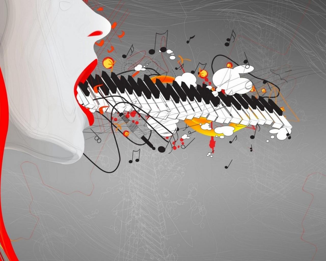 Teclado y música abstracto - 1280x1024