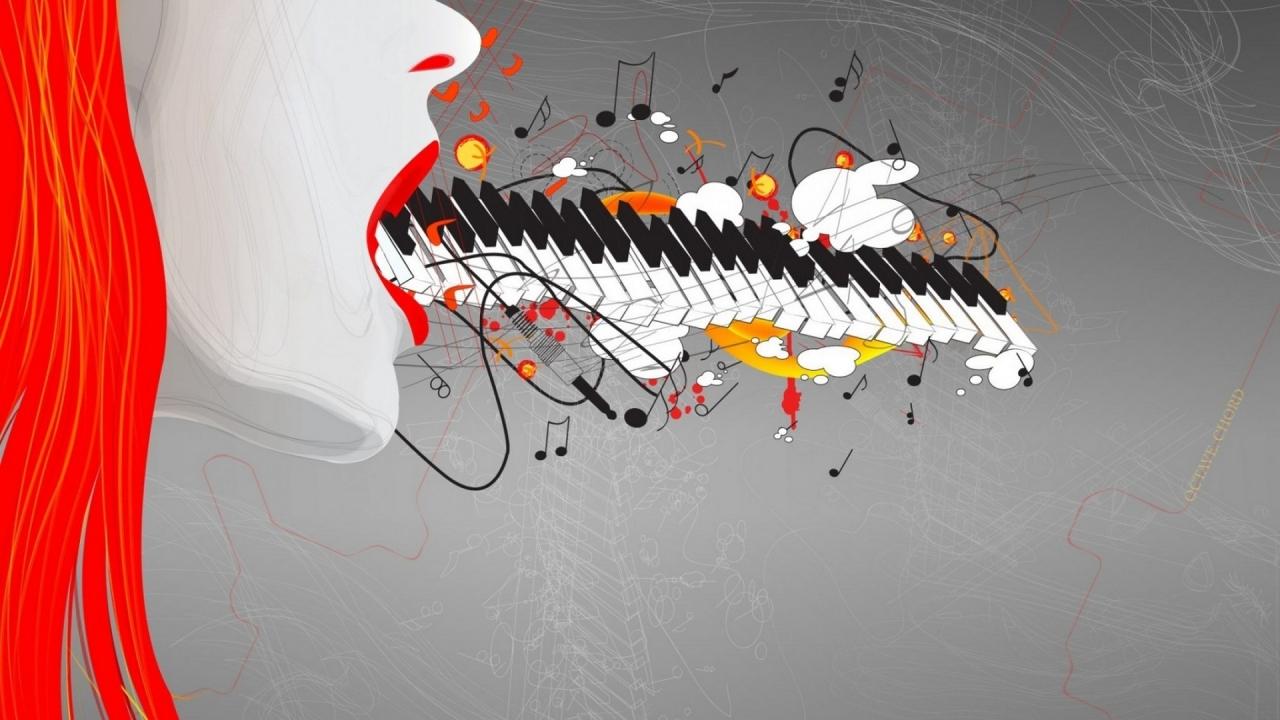 Teclado y música abstracto - 1280x720