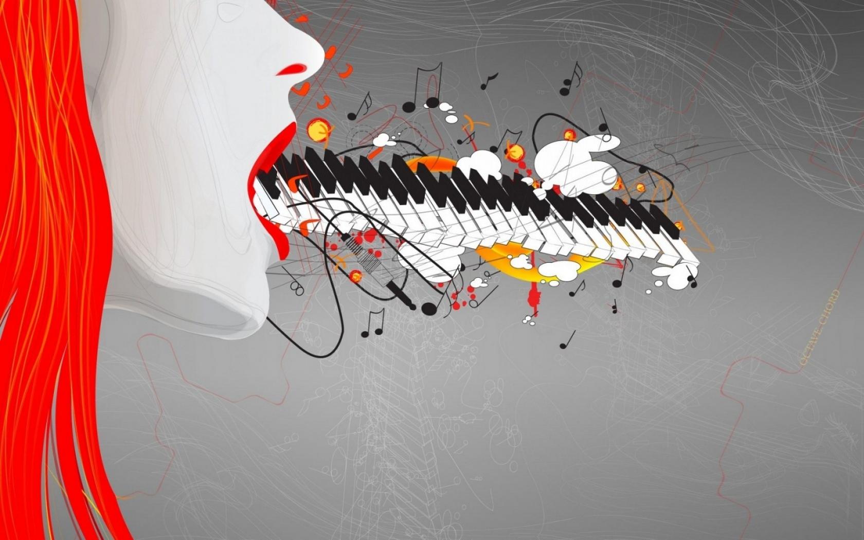 Teclado y música abstracto - 1680x1050