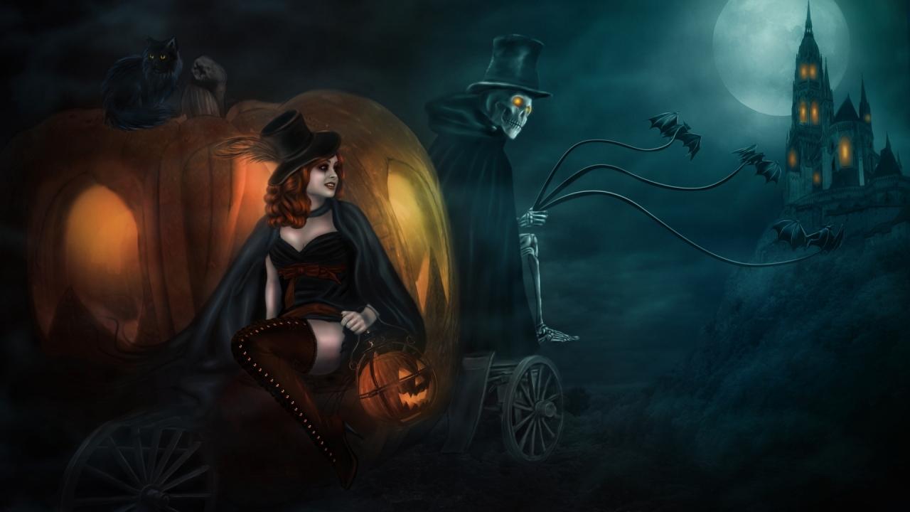 Una bruja en halloween - 1280x720