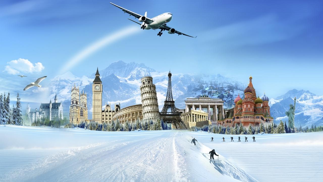 Una ciudad en la nieve - 1280x720