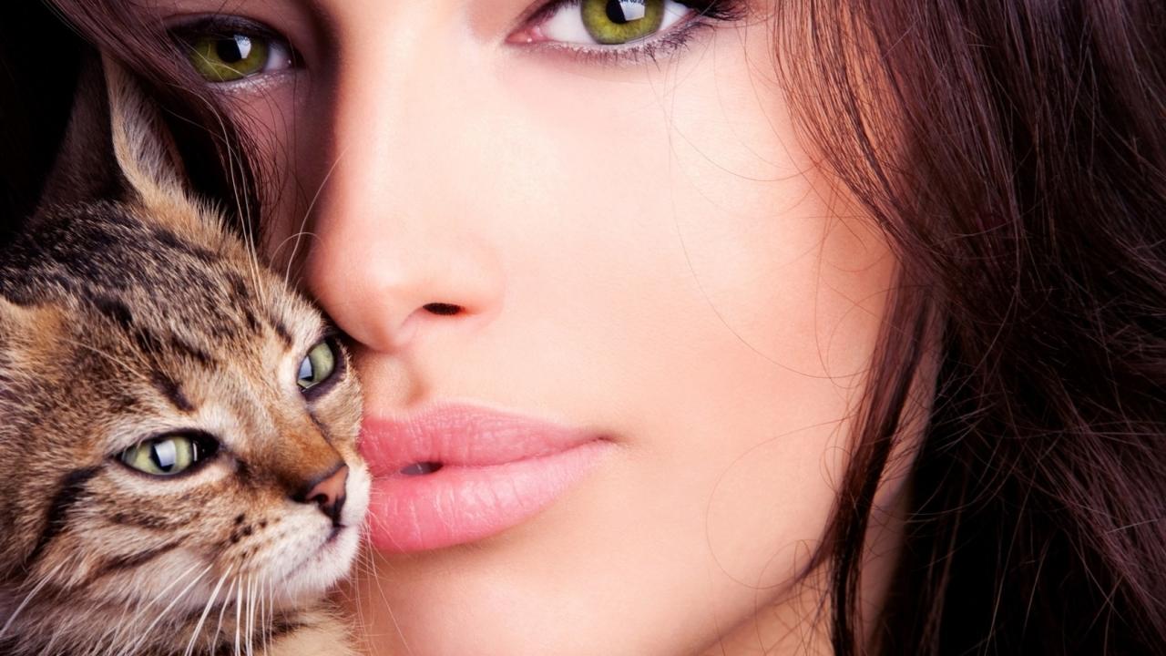 Una mujer bella y un gato - 1280x720