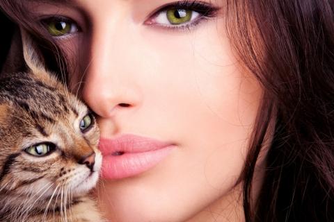 Una mujer bella y un gato - 480x320