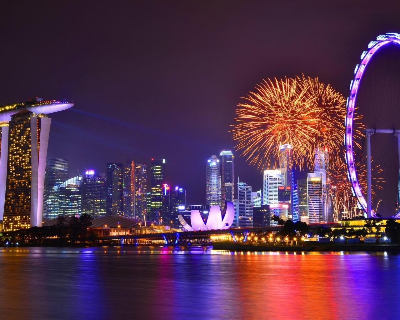 Vista de Singapore nocturna - 1280x1024