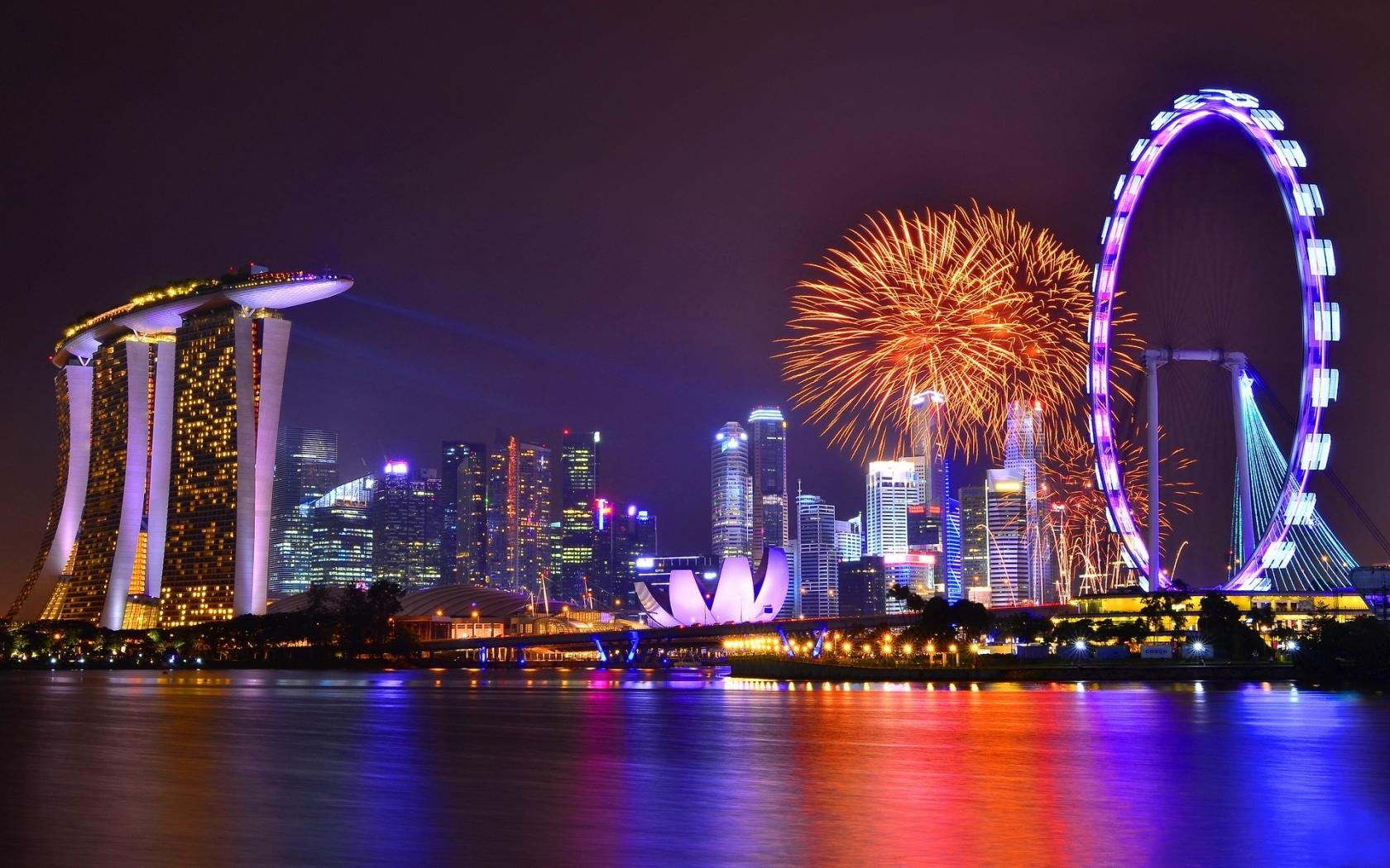 Vista de Singapore nocturna - 1680x1050