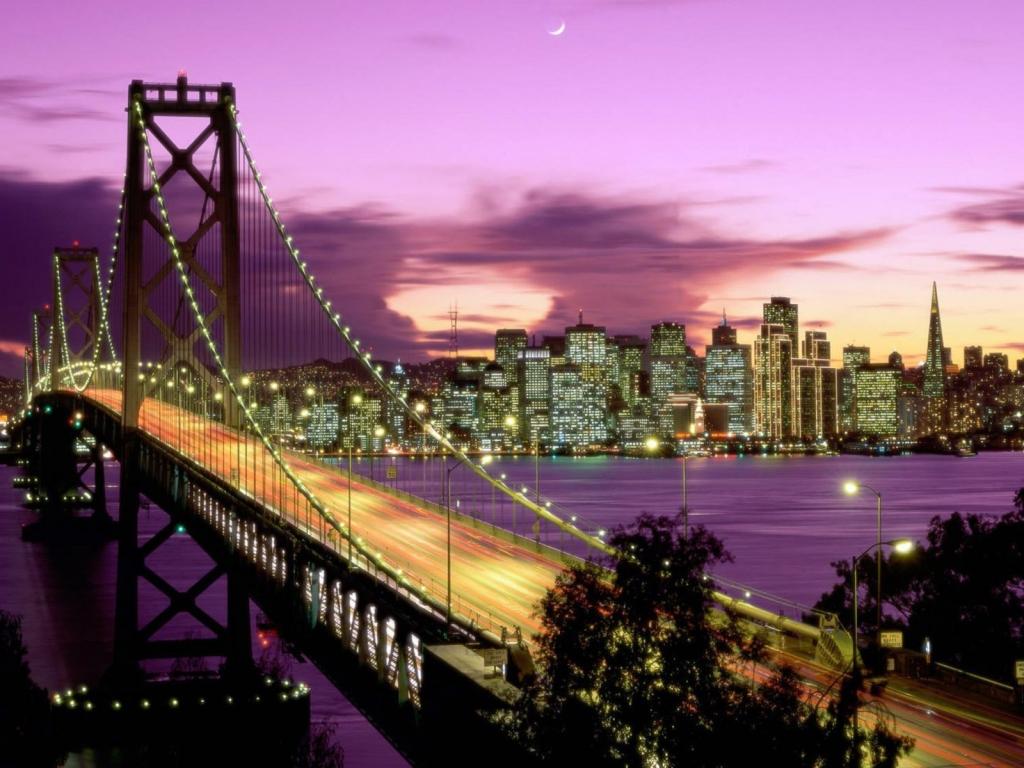 Vista nocturna de ciudad - 1024x768